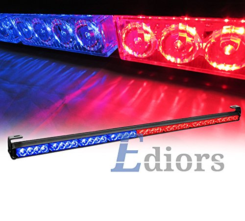 "Ediors Vehicle Auto Truck 35.5"" Led Hazard Traffic Adviser / Advising Emergency Warning Tow Strobe Light Bar With Suction Cup - Red/Blue"