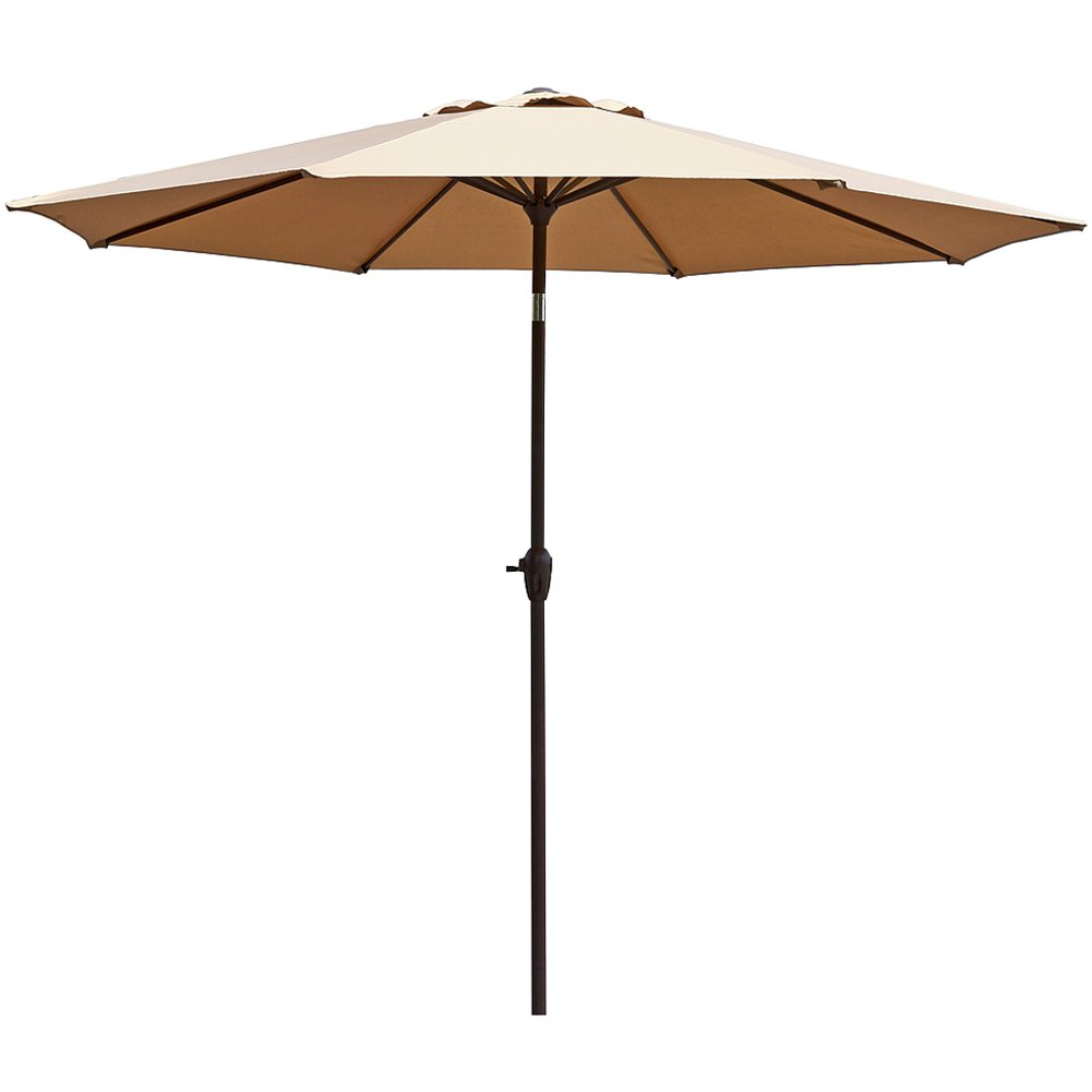 Le Papillon 9 ft Outdoor Patio Umbrella Aluminum Table Market Umbrella Crank Lift Push Button Tilt, Beige