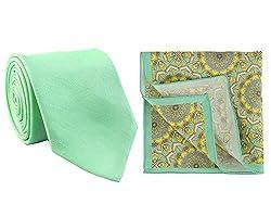 Chokore Sea Green Silk Tie and printed silk pocket square