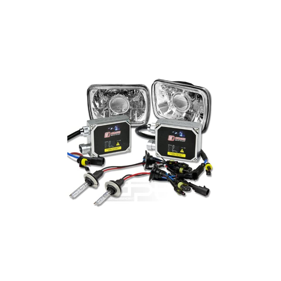 HL S 7X6 P CL+HID DT H4 43K+BLT, Two 7x6 H6054 Clear Housing Square Diamond Cut Projector Headlight Glass Lens with 4300K OEM Euro White HID Xenon Gas H4 Low Beam Light and Thick AC Digital Ballast Replacement Conversion Kit Automotive