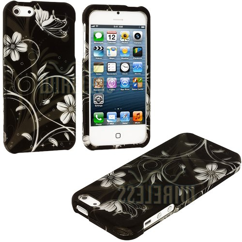 =>  myLife (TM) White + Black Flowers and Vines Series (2 Piece Snap On) Hardshell Plates Case for the iPhone 5/5S (5G) 5th Generation Touch Phone (Clip Fitted Front and Back Solid Cover Case + Rubberized Tough Armor Skin + Lifetime Warranty + Sealed Inside myLife Authorized Packaging)