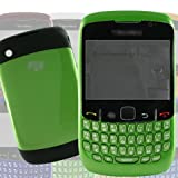 [Aftermarket Product] Green Faceplate Fascia Cover Plate Panel Case Housing+Middle Chassis+Battery Back Door+Qwerty Numeric Key Keys Button Buttons Keypad Keyboard For BlackBerry Rim Curve 8520 Repair Fix Replace Replacement