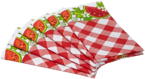 DII Juicy Watermelon Check Print Cloth Napkin, Set of 6