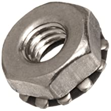 "Stainless Steel 303 Bartite Sealing Nut with 0.348"" OD External Lock Washer"