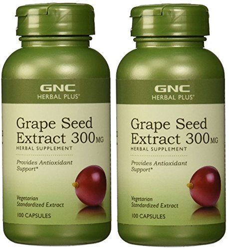 GNC Herbal Plus Grape Seed Extract 300mg -- 2 Bottles each of 100 Capsules (Gnc Grape Seed Extract Capsules compare prices)