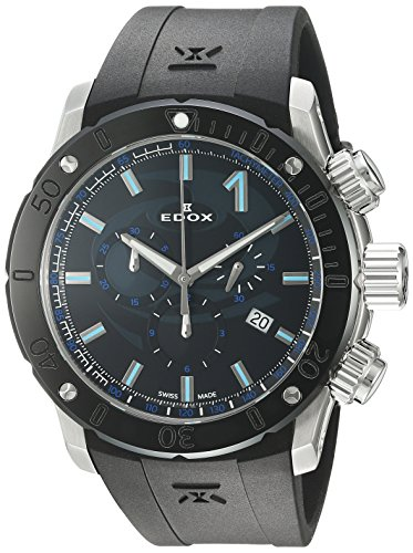 Edox-Mens-Chronoffshore-1-Swiss-Quartz-Stainless-Steel-and-Rubber-Diving-Watch-ColorBlack-Model-10221-3N-NINCU