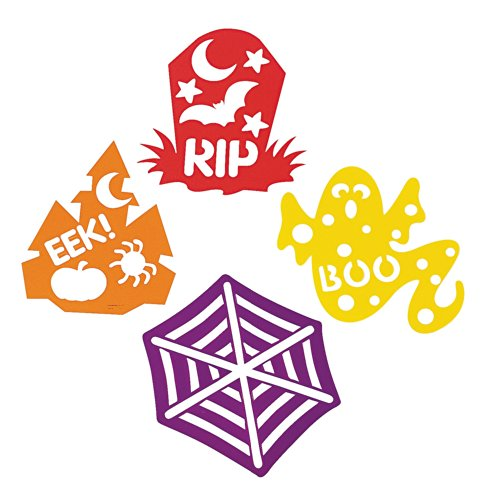 Plastic Halloween Spooky Die Cut Stencils - Eek! RIP, Boo, Spider Web and More!