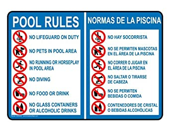 Compliancesigns aluminum swimming pool spa sign 14 x 10 - Swimming pool rules and regulations signs ...