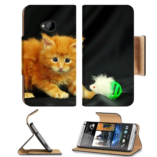 Kitty Little Playful Toy Photo Shoot Htc One M7 Flip Cover Case With Card Holder Customized Made To Order Support Ready Premium Deluxe Pu Leather 5 11/16 Inch (145Mm) X 2 15/16 Inch (75Mm) X 9/16 Inch (14Mm) Liil Htc One Professional Cases Accessories Ope front-911330