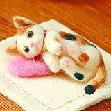 ミニチュア三毛猫の手作りキット(ピンクのクッション付き)スターターセット(針・マット)付き
