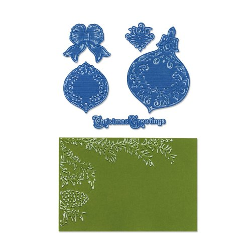 Sizzix Framelits Die Set 5PK with Textured Impressions - Pinecone & Ornament Set by Rachael Bright (Sizzix Cone Die compare prices)