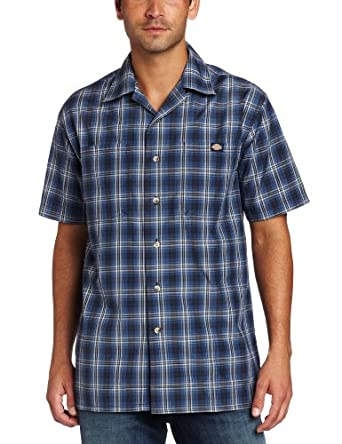 Dickies men 39 s short sleeve plaid camp shirt dark navy for Dickies short sleeve plaid shirt