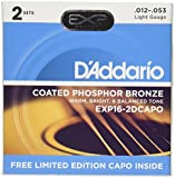 D'Addario EXP16 Bonus 2 Pack with Red NS Capo Lite, Light, 12-53