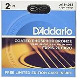 D'Addario EXP16 Bonus 2 Pack with Red NS Capo Lite, Light, 12-53