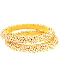 JFL - Traditional & Evergreen One Gram Gold Plated Pearl Designer Bangles For Girl And Women.