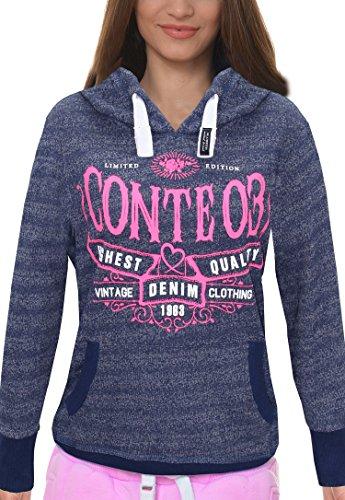M.Conte Women Sweat-Shirt hooded Felpa da Donna con Cappuccio Modello Rihana marina blu L
