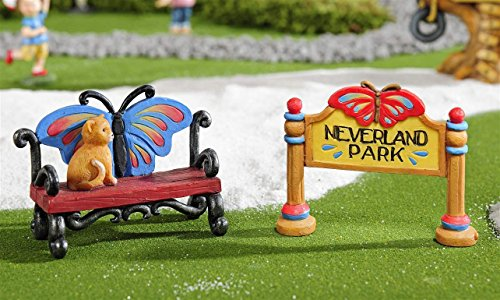 Giftcraft Fairy Garden Butterfly Bench and Sign Figurine - Kids at Play Miniature Collection