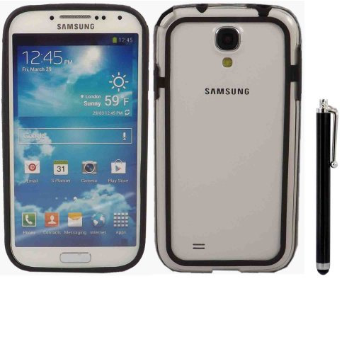 Bumper Fall Decken Haut Und Large Kapazitive Stylus Pen Für Samsung Galaxy S4 i9500 i9505 / Clear Black