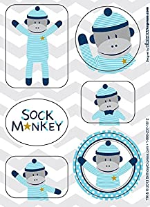 Sock Monkey Blue Sticker Sheets (4)