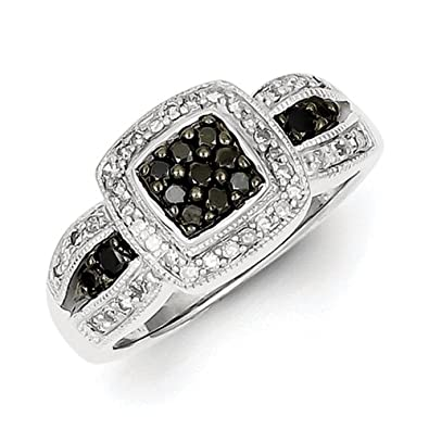 Sterling Silver Black Rough Diamond Square Ring - Ring Size Options Range: L to P