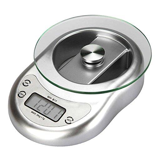 Aoklea Balance de Cuisine Tare Electronique Numerique Affichage LCD Fonction Comptage Decroissant 5kg Maximum Precision 1g, Couleur Argente