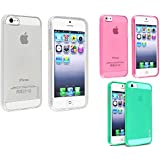 eForCity 3 Packs TPU Rubber Case Combo Compatible with Apple iPhone 5/5S - Retail Packaging - Clear Hot Pink /Clear Neon Green
