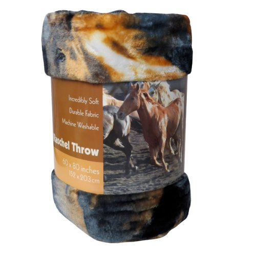 Vmi Super Soft Raschel Blanket, Horse Print front-586883