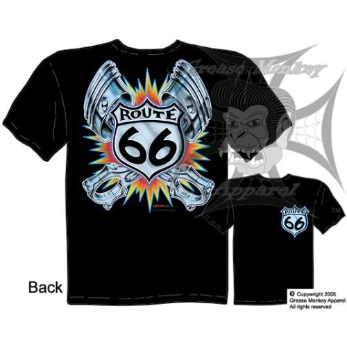 Amazon.com: Size XXL, Flaming Route 66 Pistons Tattoo, Hot