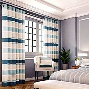 """Chenille Jacquard Striped Teal Cream 90x108"""" 229x274cm Lined Ring Top Curtains by Curtains"""
