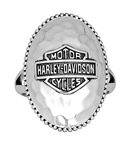 Harley-Davidson Womens .925 Silver Hammered Large Oval Ring (Size 7)