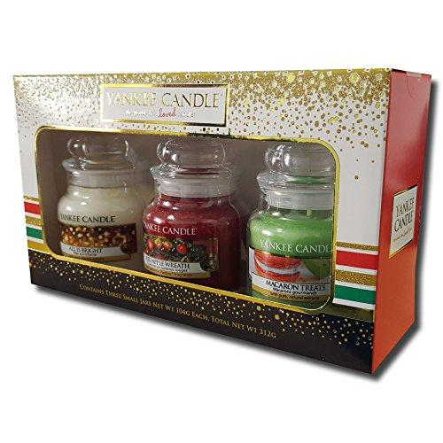 Edizione limitata ufficiale Yankee Candle Natale Feste 2016Barattolo piccolo set regalo Confezione Tripla-Tutto è luminoso, Red Apple Wreath e macaron dolci