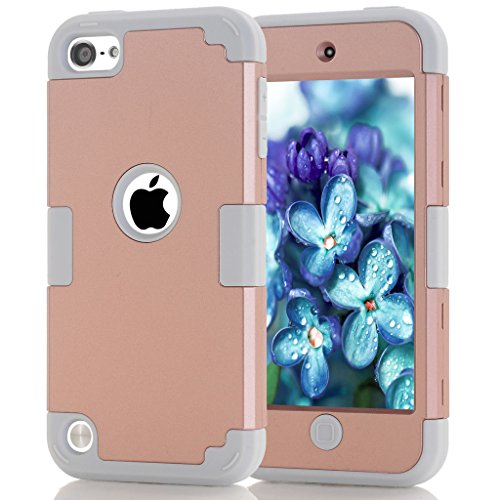 iPod 5 / 6 Case, HOcase Candy Color Series, Hybrid Plastic Silicone Shockproof Protective Case Cover for iPod touch 5th / 6th Generation - Rose Gold / Grey (Ipod Model A1421 compare prices)