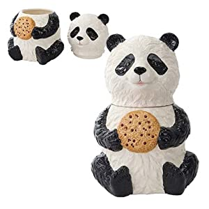 Chinese Panda Cookie Jar Ceramic Cute Kitchen Accessory