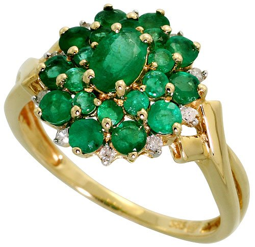 14k Gold Cluster Ring, w/ 2.00 Total Carats Brilliant & Oval Cut Emerald Stones, & Brilliant Cut Diamonds, 9/16 in. (15mm) wide