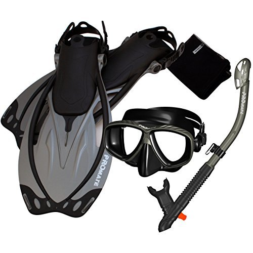 285890-Ti/Bk-SM, Snorkeling Mask Dry Snorkel Fins Mesh Gear Bag Set (Snuba Gear compare prices)