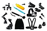 Oumers 16-in-1 Accessories kit Bundle for GoPro, YI Action camera, Telescoping Handheld Monopod + Floating + Handlebar Mount + Chest Head Wrist Strap For xiaomi YI camera Go Pro Hero 1 2 3 4 session