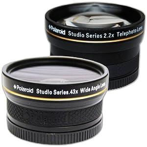 Polaroid Studio Series 30/30.5/43/37mm .43x HD Wide Angle Lens With Macro Attachment + Polaroid Studio Series 2.2X HD Telephoto Lens Travel Kit