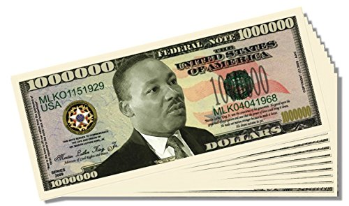 Martin Luther King Jr. Million Dollar Bill - 10 Count with Bonus Clear Protector & Christopher Columbus Bill
