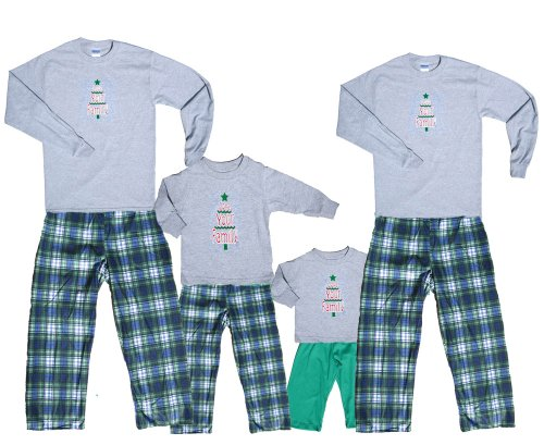 Wintry Green Tree Grey Shirt Pant Set - Adult X-Large, L/S, Rdg Plaid Pants front-179216