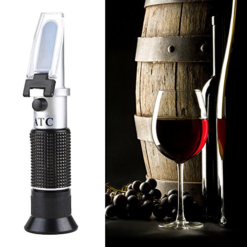 Alcohol Refractometer with ATC, Dual Scale of 0-25%vol Alcohol & 0-40% Brix, for Wine Making, Homebrew Kit