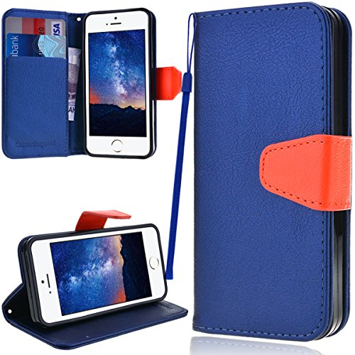 iPhone 5 5S Case, iPhone SE Case, SmartLegend PU Leather Wallet Case, Flip Folio Stand Cover with [Card Slot] [Cash Pocket] [Magnetic Closure] [Lanyard] Pure Color Holster for iPhone 5/5S/SE Navy Blue (Iphone 5s Body Space Gray compare prices)