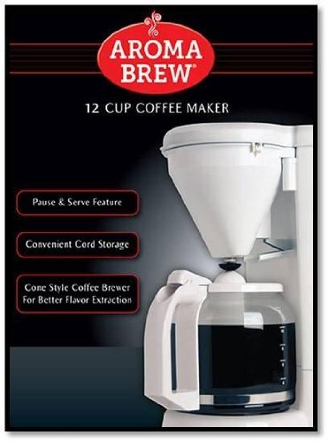 Aroma Brew 12 Cup Coffee Maker (White)