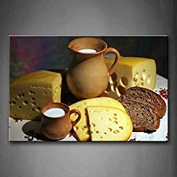 Canval prit painting Yellow Cheese With Brown Bread And Milk The Picture Print On Canvas Food Pictures