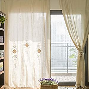 Yoyomall home decoration mediterranean beige hollow curtains for living room hand - Amazon curtains living room ...