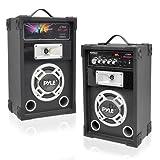 Pyle PSUFM625 Disco Jam 600 Watt 2-Way PA Speaker System SD Card Reader FM Radio AUX/MP3 Input USB Charging