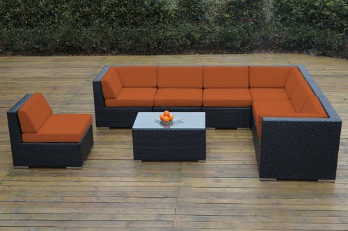 Ohana Collection pn0804OR Outdoor Patio Wicker Furniture 8-Piece Couch Set with Free Patio Cover, Orange picture
