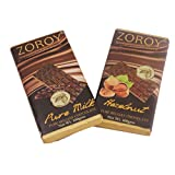 ZOROY Milk And Dark Combo- Set Of Pure Belgian Milk Chocolate And Dark Chocolate Hazelnut Bars