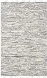 Safavieh Montauk Collection MTK753A Hand Woven Silver Cotton Area Rug, 5 feet by 8 feet (5\' x 8\')