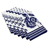 Table Linens Napkins 20 Inches Cotton White And Blue Decor Indian Machine Washable Set Of 6