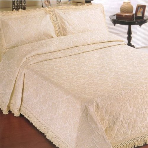 Olga Jacquard Cream Bedspread/Throw With Fringe, King